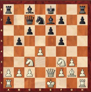 Position from Bogolyubow-Alekhine World Championship 1929 after Black's 11th move (11...b5)