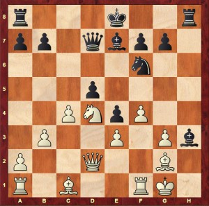 The position from Haria-Sadler 4NCL 2016 after Black's 17th move (17...Bh3)