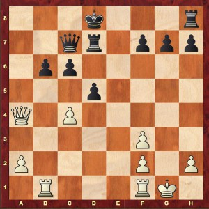 Alekhine-Winter London 1932 after Black's 20th move (20...axb6)