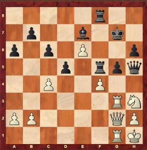 Position after Black's 36th move in Alekhine-Tylor Margate 1937