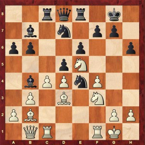 Flear-Sadler 4NCL 2016 after Black's 16th move (16...Ne4)