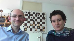 """Matthew and Natasha demonstrating the favourite opening of one of their """"Chess for Life"""" role models: English GM Keith Arkell"""