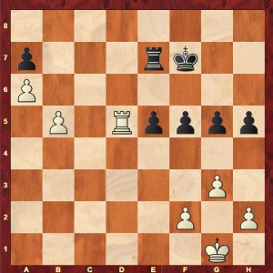 The position after Black's 45th move in Sadler-Chow 4NCL 2016
