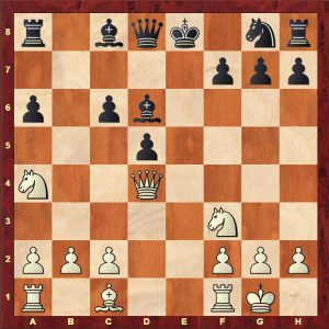 Rabinovich-Alekhine Russian Championship 1912 after White's 11th move 11.Qd4