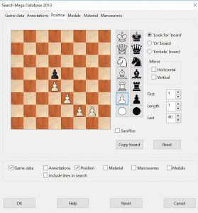 2nd Chessbase Search screen, selecting a structure to search for.