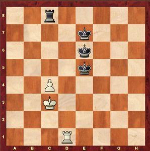 A typical disposition of forces. The Black king could be on e7,e6 or e5