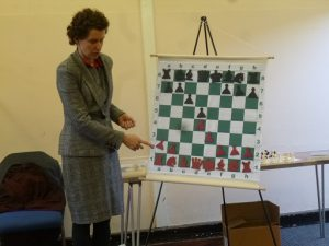Natasha demonstrating the Minority Attack at Gerrards Cross Chess Club. Photo by Adrienne Regan