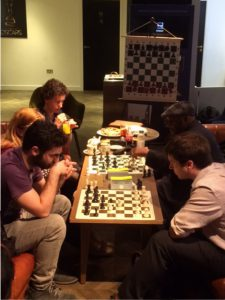 Playing blitz at the Casual Chess Café before the lecture